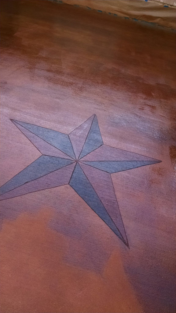 Texas star stained into decorative concrete