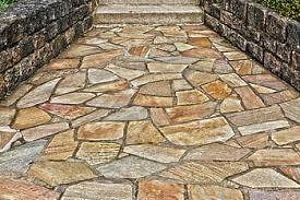 multicolored flagstone paved walkway