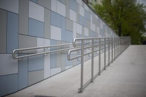 Public ADA ramp with handrail