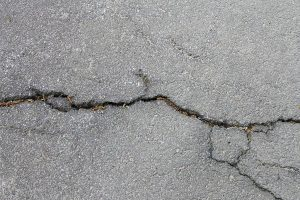 close up of cracked asphalt