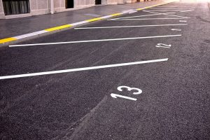 Close Up ofNumbered Parking Spaces