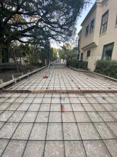 Image of driveway forms and rebar before pouring concrete