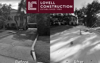 Featured image of before and after photo of a residential concrete driveway remodel