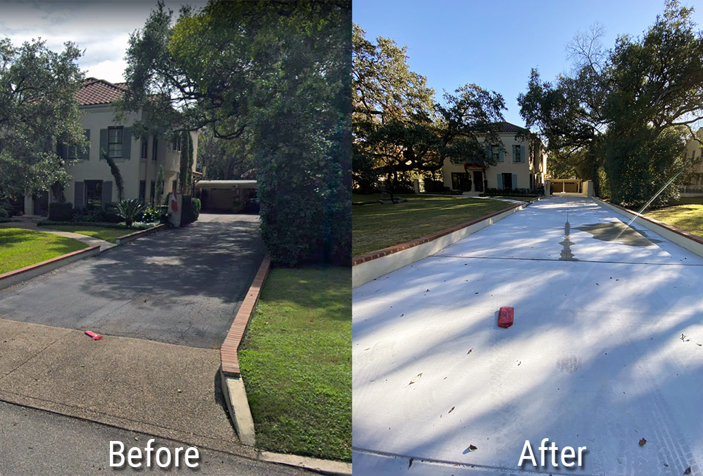 Before and After image of a residential concrete driveway renovation
