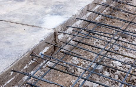 Image of a double mat layer of tied rebar before a concrete pour