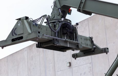 Image of a rough terrain container handler arm